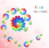 心の虹の花の背景 — ストックベクタ