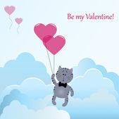 Kotek z serca balony — Wektor stockowy