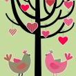 Love birds card - Stock Vector