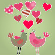 Hearts and birds card — Stock Vector