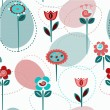 Stock Vector: Cute flowers, seamless