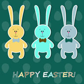 Easter card with colorful rabbits — Stock Vector