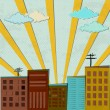City and sunshine - Image vectorielle