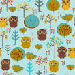 Cute colorful seamless pattern with owl and trees — Stock Vector #23584441
