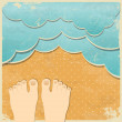 Royalty-Free Stock Imagen vectorial: Retro summer holiday background. Paper waves and beach