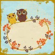 Owls greeting card — Stockvektor