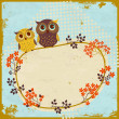 Owls greeting card — Stockvectorbeeld