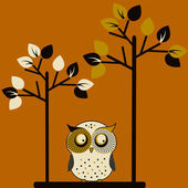 Cute owl and two trees — Stock Vector