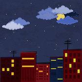 Papier-Stadt bei Nacht — Stockvektor