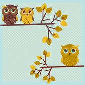 Three cute owls — Stock Vector