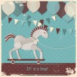 Baby shower design, cute toy horse. - Stock Vector