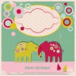 Stock Vector: Cute elephants greetings card