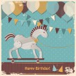 Cute toy horse. Happy birthday card — Stock Vector