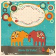 Cute elephants greetings card — Imagen vectorial