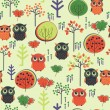 Cute colorful seamless pattern with owsl and trees — Stock Vector