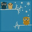 Three cute winter owls — Vettoriali Stock