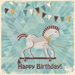 Toy horse. Baby shower design — Imagen vectorial