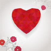 Flores y corazón rojo. — Vector de stock