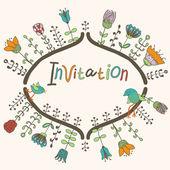 Cute flowers and birds invitation design — Stock Vector