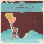 Kitten with heart balloons — Stock Vector