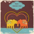 Cute elephants in love — Stok Vektör