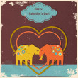 Cute elephants in love — ストックベクタ