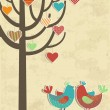 Love birds card — Vector de stock
