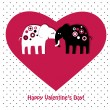 Cute elephants in love — Vector de stock