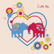Stock Vector: Cute elephants in love
