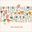 Cute birds in love card — Vector de stock
