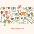Cute birds in love card — Stok Vektör