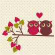 Two cute owls in love — Stock Vector #39444287