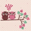 Stock Vector: Two cute owls in love