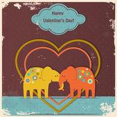 Cute elephants in love — Stockvektor