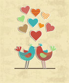Cute birds in love card — Stock Vector