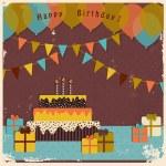 Retro happy birthday card — Stock Vector #40553985