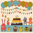 Happy birthday design set — Stock Vector