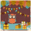 Retro happy birthday card — Stock Vector