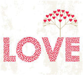 Love word made from hearts — Stock Vector