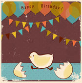 Retro happy birhday card — Stock Vector