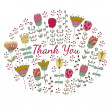 Thank you card with doodle flowers — Stock Vector