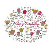 Happy birthday card with doodle flowers — Stock Vector