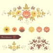 Set of floral design elements. — Stock Vector