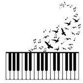 Vector background. Piano with flying birds — Stock Vector