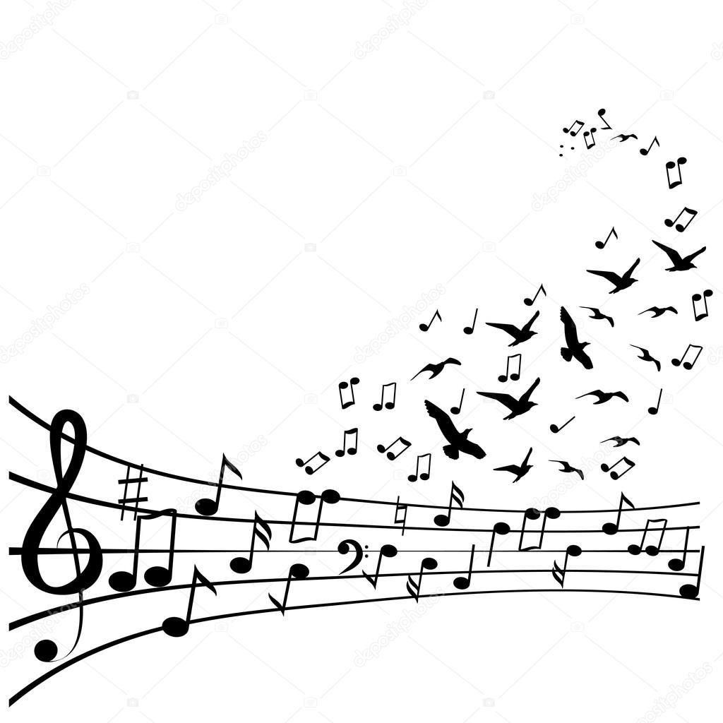 Varias notas musicales en pentagrama — Vector de stock © ajjjgul ...