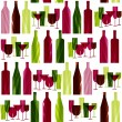 Bottles and glasses. seamless pattern — Stock Vector