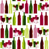 Bottles and glasses. seamless pattern — Vector de stock