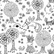 Cute doodle seamless pattern with forest animals — Stock Vector #46620869