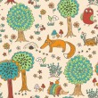 Cute doodle seamless pattern with forest animals — Stock Vector #46620913
