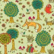 Cute doodle seamless pattern with forest animals — Stock Vector #46620915